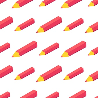 Seamless pattern with isometric red  pen