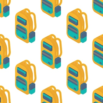 Seamless pattern with isometric school  backpack.