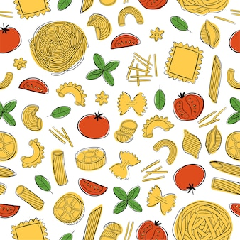 Seamless pattern with italian pasta for menu packing wrapping paper or fabric