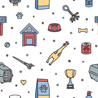 Бесшовный фон с предметами для ухода, ухода, развлечений и кормления собак на белом фоне. красочные векторные иллюстрации в современном стиле арт линии для текстильной печати, оберточной бумаги.