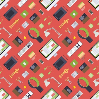 Seamless pattern with items from the digital artist workplace