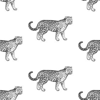 Seamless pattern with jaguar.
