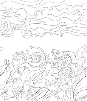 Бесшовный фон с японскими карпами. плитка для вашего дизайна, текстильная ткань, обои или оберточная бумага. красивые каракули рыб и растений
