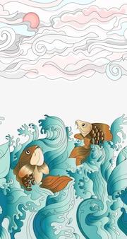 일본 잉어와 함께 완벽 한 패턴입니다. 디자인, 직물 섬유, 벽지 또는 포장지를 위한 타일 배경. 아름다운 낙서 물고기와 식물