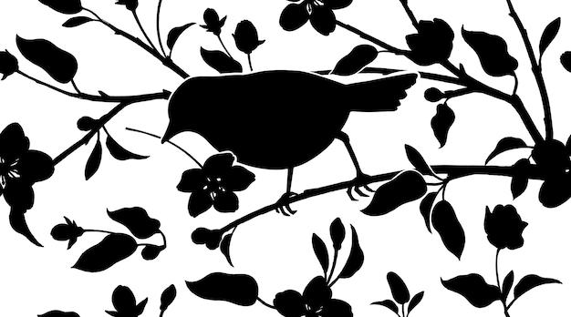 Бесшовный фон с японской вишни и силуэт птицы черный и белый вектор