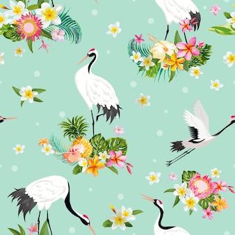 Бесшовный паттерн с японских журавлей и тропических цветов, ретро-фон птицы, цветочный принт моды, набор японских украшений дня рождения. векторные иллюстрации
