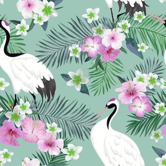일본 두루미와 열 대 꽃, 복고풍 새 배경, 꽃 패션 인쇄, 생일 일본 장식 세트와 함께 완벽 한 패턴입니다. 벡터 일러스트 레이 션