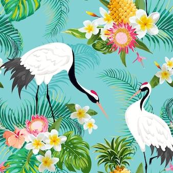 Бесшовный фон с японскими журавлями и тропическими цветами, ретро цветочный фон, модный принт, набор японских украшений на день рождения. векторные иллюстрации