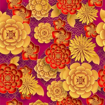 Seamless pattern with japanese elements