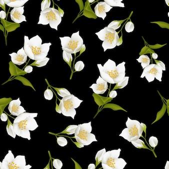 Seamless pattern with jasmine flower