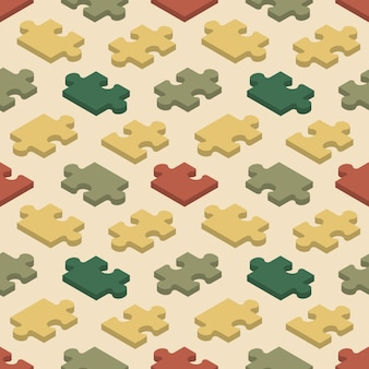 Seamless pattern with the jigsaw puzzle pieces