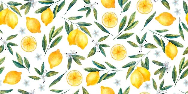 Бесшовный фон с сочными яркими лимонами, ветками и цветами