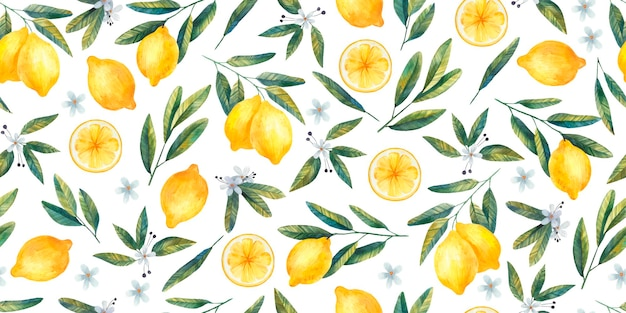 Seamless pattern with juicy bright lemons, branches and flowers