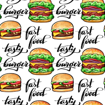 Seamless pattern with juicy burgers