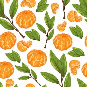 Бесшовный фон с сочными мандаринами и ветками