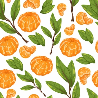 Seamless pattern with juicy tangerines and branches