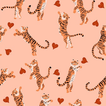 Seamless pattern with jumping tigers and autumn leaves