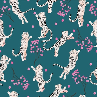 Seamless pattern with jumping tigers and sakura.