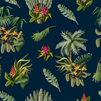 Seamless pattern with jungle trees