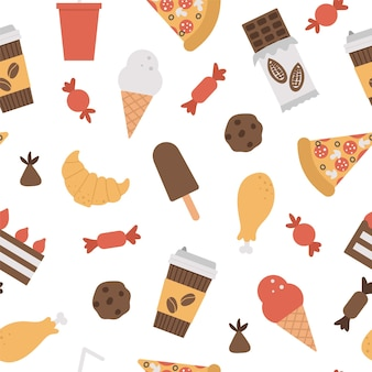 Seamless pattern with junk food and drink.