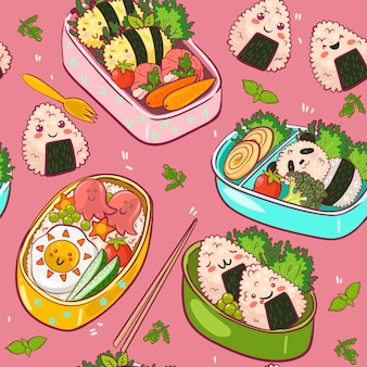 Seamless pattern with kawaii bento.  graphics.