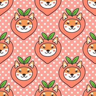 Seamless pattern with kawaii dog of japanese breed shiba inu in funny costume fruit peach