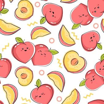 Бесшовный фон с рисунком персиков каваи