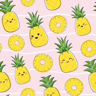 Бесшовный фон с персонажами ананаса каваи