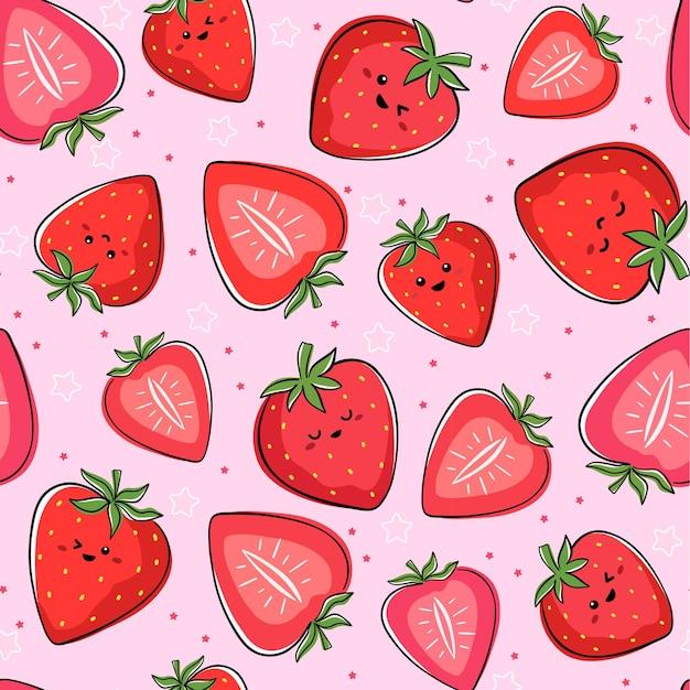 Seamless pattern with kawaii strawberry characters