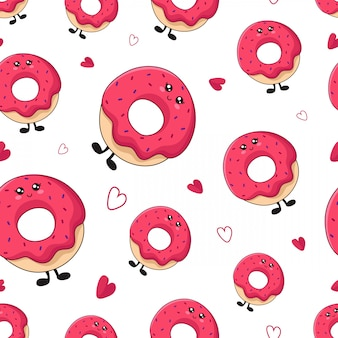 Seamless pattern with kawaii sweet food - donuts