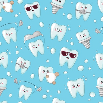 Seamless pattern with kawaii teeth with different emoji