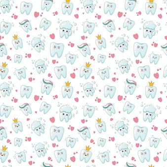 Seamless pattern with kawaii teeth