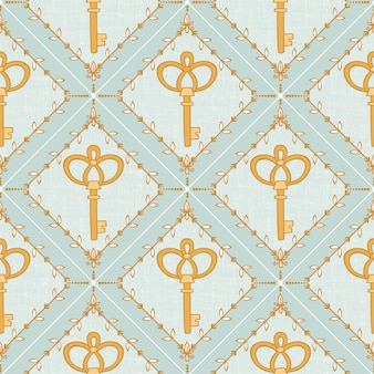 Seamless pattern with key and hand drawn elements pastel color