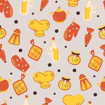 キッチンアクセサリーとのシームレスなパターン。調理器具、料理の背景。