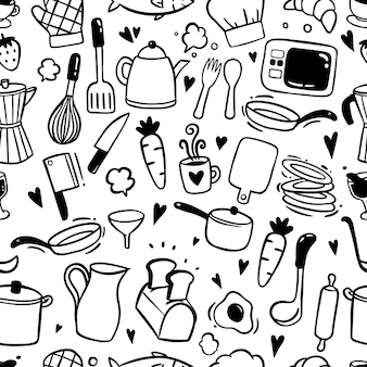 Seamless pattern with kitchen elements on doodle style