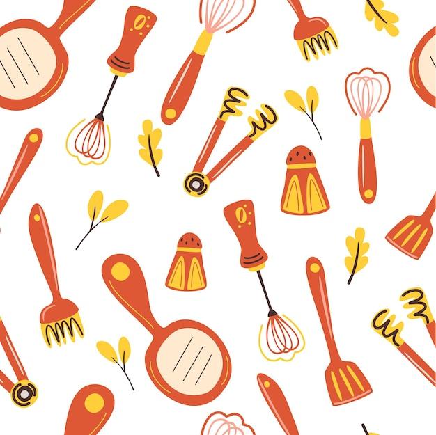 キッチンツールとのシームレスパターン調理器具の背景キッチンアクセサリーとのパターン