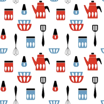 Seamless pattern with kitchen utensil.