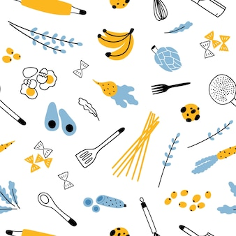 Seamless pattern with kitchen utensils and ingredients