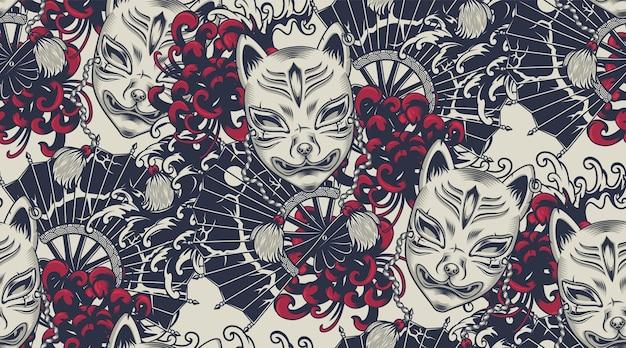 无缝图案搭配日本主题的kitsune面具。所有颜色都在一个单独的组中。适用于织物印花和装饰