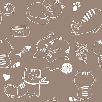 子猫と猫とのシームレスなパターン