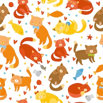 Seamless pattern with kittens on white background