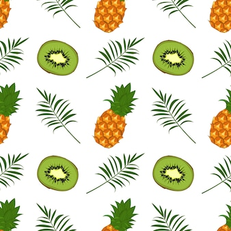Seamless pattern with kiwi pineapple and palm branch