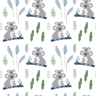 Seamless pattern with koala mother and koala child.