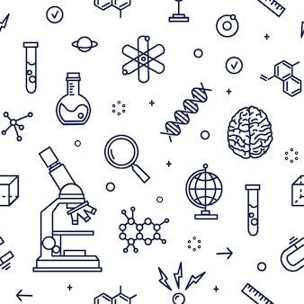 Seamless pattern with laboratory equipment, attributes of science, scientific experiment, research drawn with contour lines on white background. monochrome  illustration in line art style.