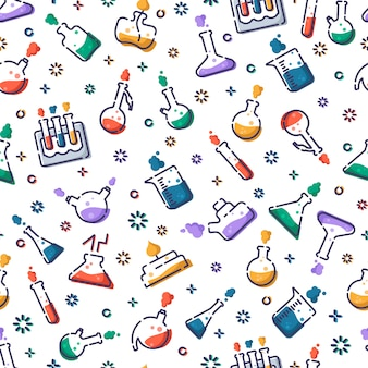 Seamless pattern with laboratory flasks, measuring cup and test tubes