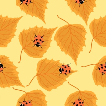 Seamless pattern with ladybugs and birch leaves.  graphics