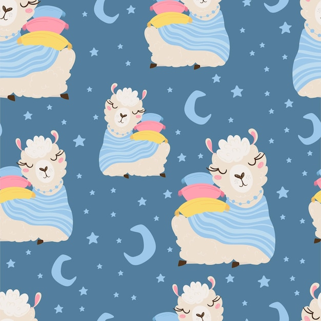 Seamless pattern with lama sleeping on pillows and moon