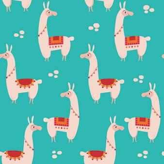 Seamless pattern with lama.
