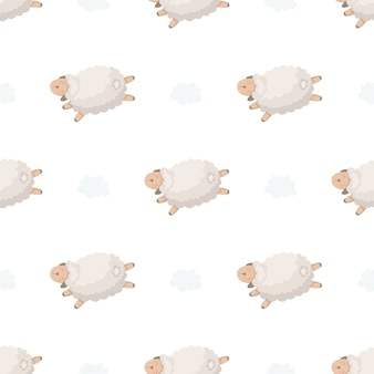 Seamless pattern with lambs and clouds.