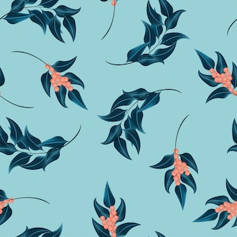 Seamless pattern with leaf and berry